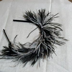 LOFT Black White Feather Headband #456